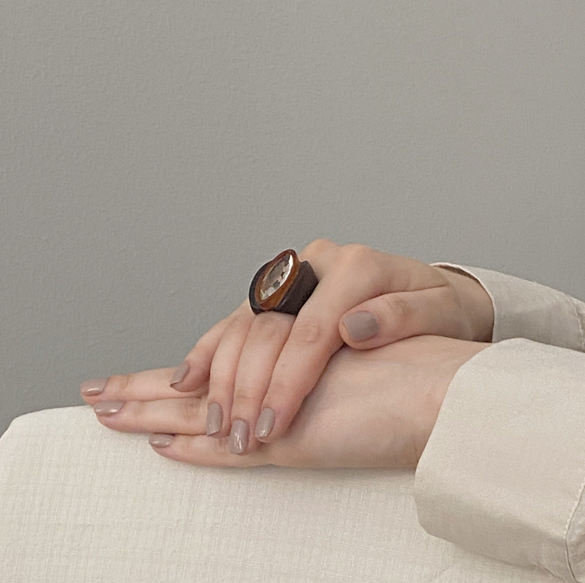 Duo Wood Crystal Ring
