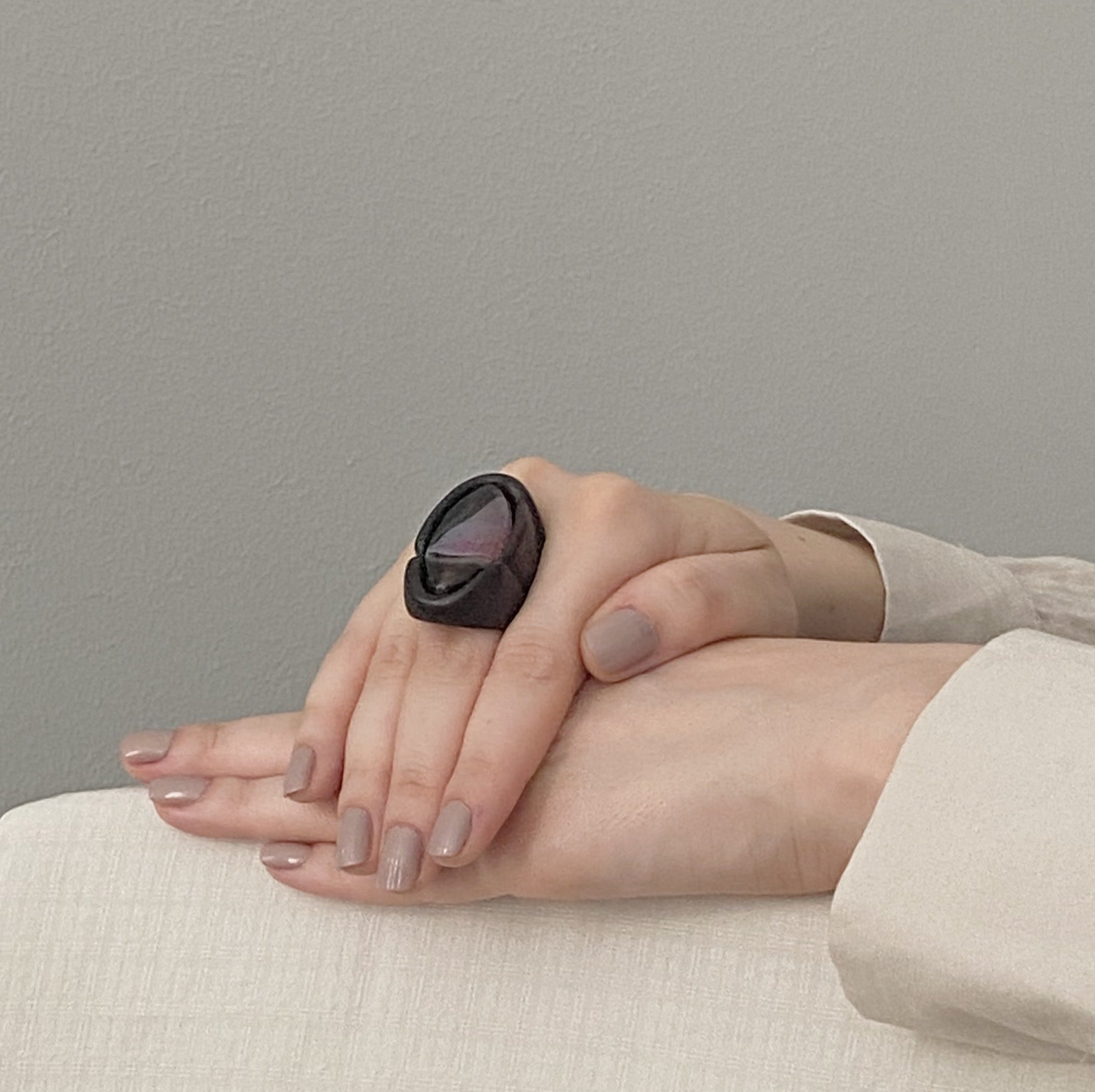 Black & Pink Agate | Wooden Ring