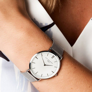 Personalised Elie Beaumont of London Mesh Strap White Dial Ladies Watch - Wear We Met