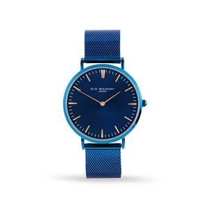 Own Handwriting Elie Beaumont Engraved Watch Electric Blue - Wear We Met