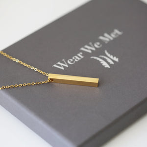 Handwriting Bar Necklace - Wear We Met