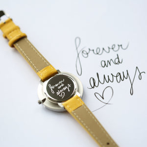 Handwriting Engraved Anaii Watch In Mellow Yellow - Wear We Met