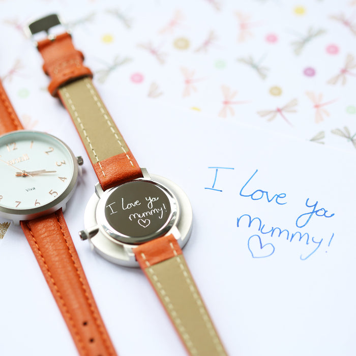 Personalised Anaii Watch Handwriting Engraving Blush Red