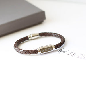 Handwriting Engraved Twisted Leather Bracelet - Wear We Met