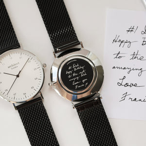 Handwriting Engraving - Men's Architect Zephyr + Pitch Black Mesh Strap