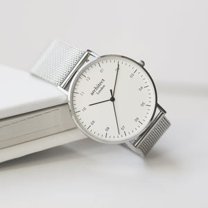 Handwriting Engraving - Men's Architect Zephyr + Steel Silver Mesh Strap
