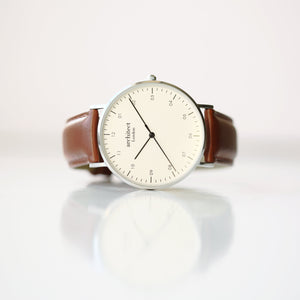 Modern Font Engraving - Men's Architect Zephyr + Walnut Strap - Wear We Met