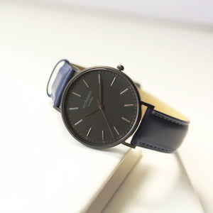 Handwriting Engraving - Men's Minimalist Watch + Admiral Blue Strap