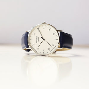 Modern Font Engraving - Men's Architect Zephyr + Admiral Blue Strap - Wear We Met