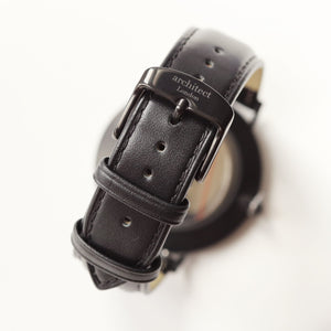 Modern Font Engraving - Men's Minimalist Watch + Jet Black Strap - Wear We Met