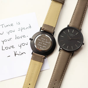 Handwriting Engraving - Men's Minimalist Watch + Urban Grey Strap