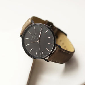 Modern Font Engraving - Men's Minimalist Watch + Urban Grey Strap - Wear We Met