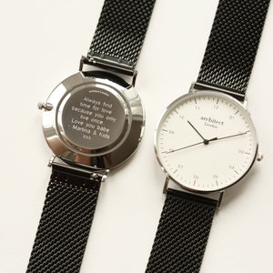 Modern Font Engraving - Men's Architect Zephyr + Pitch Black Mesh Strap - Wear We Met