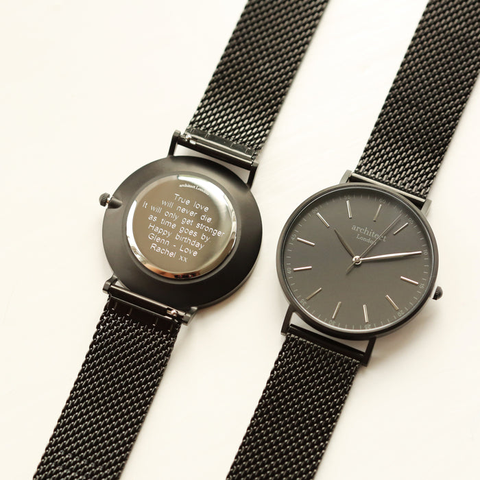 Modern Font Engraving - Men's Minimalist Watch + Pitch Black Mesh Strap
