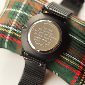 Modern Font Engraving - Men's Minimalist Watch + Pitch Black Mesh Strap - Wear We Met