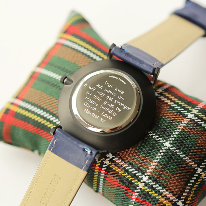 Modern Font Engraving - Men's Minimalist Watch + Admiral Blue Strap