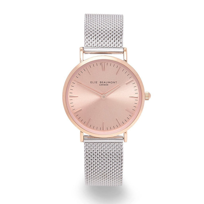 Small Elie Beaumont Rose Silver Watch - Personalised