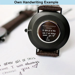 Own Handwriting Personalised Mr Beaumont Watch Gun Metal - Wear We Met