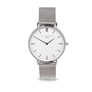 Small Elie Beaumont Personalised Ladies Watch Silver White Dial - Wear We Met