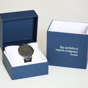 Handwriting Engraving - Men's Minimalist Watch + Jet Black Strap