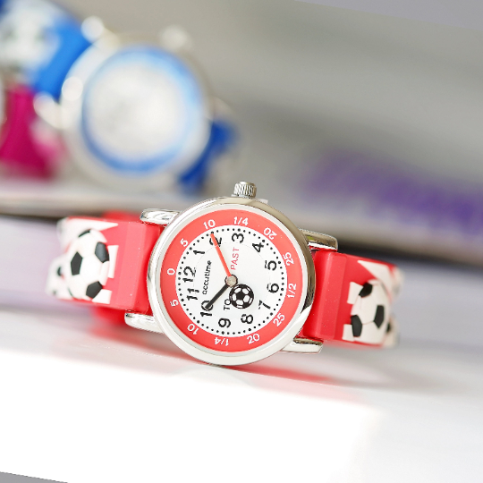 Engraved Kids 3D Football Watch - Red