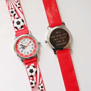 Engraved Kids 3D Football Watch - Red - Wear We Met