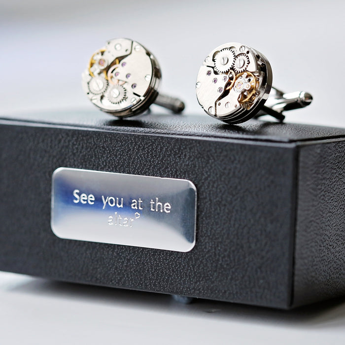 Engraved Gear Movement Cufflinks