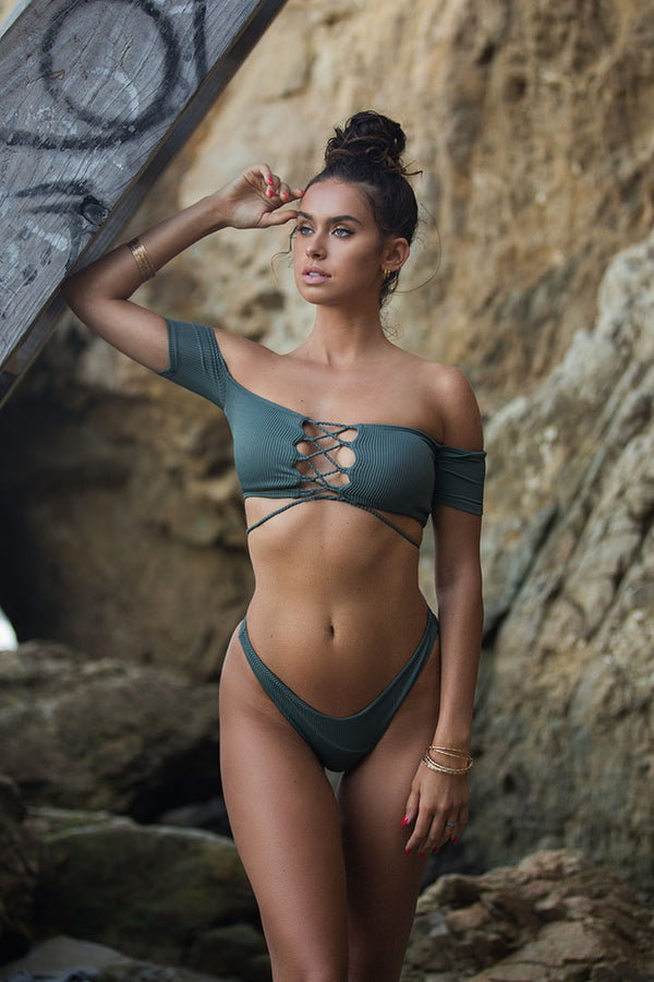 Basil Green Off Shoulder Set