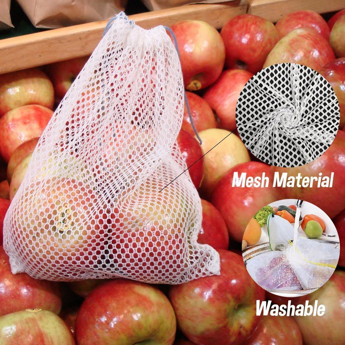 Waste Free Reusable Produce Bags(12PCS)