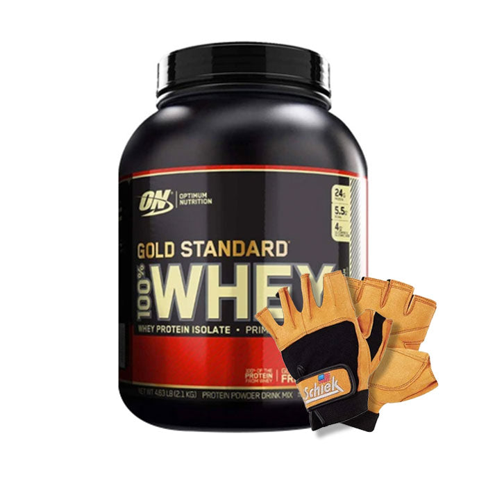 Gold Standard 100% Whey 5 lbs  with Schiek Gloves
