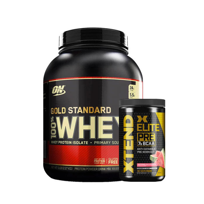 Optimum Nutrition 100% Whey 5LB + Extend Elite Pre workout Combo Stack