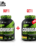 1+1 OFFER MUSCLEPHARM, COMBAT PROTEIN POWDER, BANANA CREAM, 4 LBS