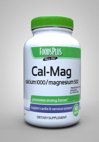 FOODS PLUS Cal-Mag 1000 mg of calcium carbonate and 500 mg of magnesium - 60 Tablets