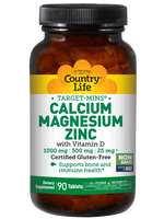 COUNTRY LIFE TARGET MINS - CALCIUM MAGNESIUM ZINC, WITH VITAMIN D - 90 TABLETS