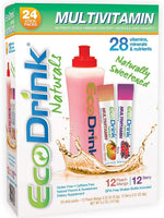 EcoDrink Naturals - Multivitamin Mix Drink Variety Pack with Reusable Bottle - Berry/Peach Mango (24 Sticks)