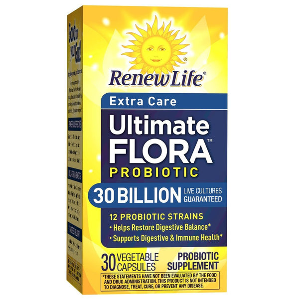 Renew Life Adult Probiotic - Ultimate Flora Probiotic Extra Care, Shelf Stable Probiotic Supplement - 30 Billion - 30 Vegetable Capsules