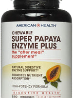 American Health Super Papaya Enzyme Plus Chewable Tablets, 180 Count