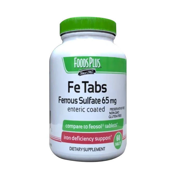 Foods Plus Fe Tabs Ferrous Sulfate For Iron Formula,60 Tablet