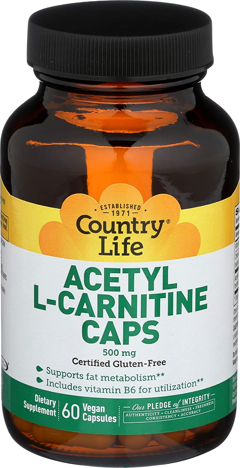 Country Life Acetyl L-Carnitine, 500mg - 60 Vegan Capsules