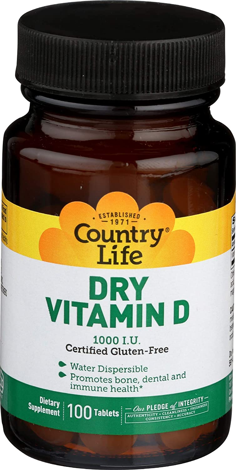 Country Life Dry Vitamin D, 1000 IU - 100 Tablets