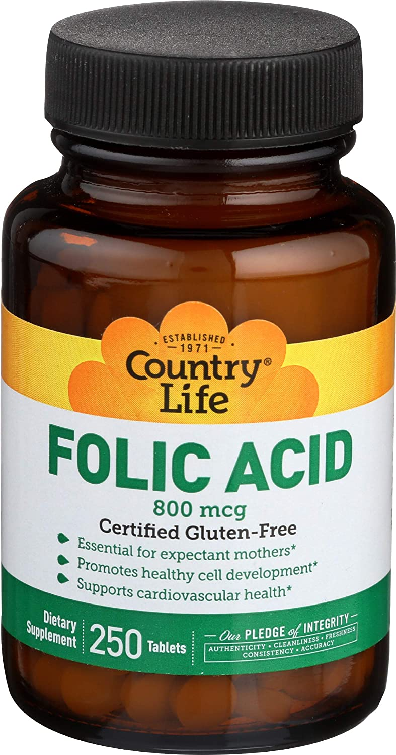 Country Life - Folic Acid 800 mcg - 250 Tablets