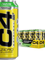Cellucor C4 Original Carbonated Zero Sugar Energy Drink, Pre Workout Drink + Beta Alanine, Sparkling Twisted Limeade