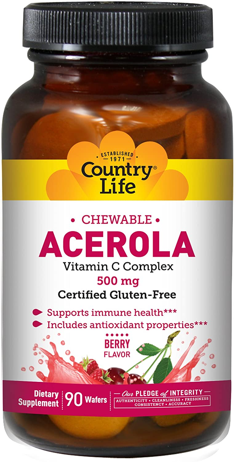 COUNTRY LIFE VITAMINS, ACEROLA & C,WAFER,500 MG 90 CT