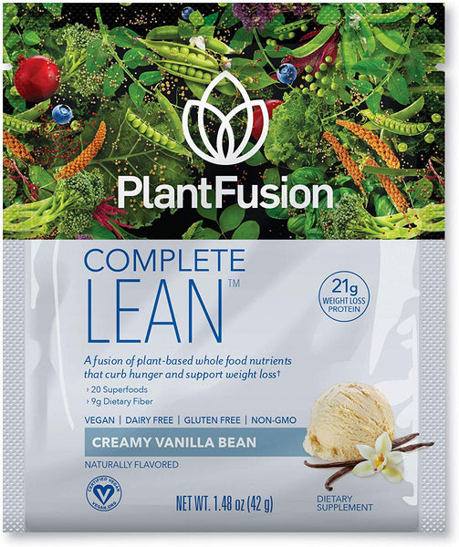 Plantfusion Complete Lean Plant Based Weight Loss Protein Powder | Supports Blood Sugar, Controls Appetite | Superfoods With Digestive Enzymes, Gluten Free, Vegan, Non-Gmo, Vanilla, 12 Pack