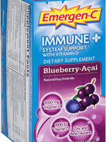 Emergen-C Immune+ System Support Dietary Supplement with Vitamin D - Blueberry-Acai Flavor, 30-Count