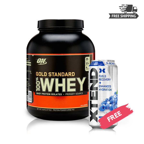 BUY WHEY 100% WHEY GOLD STANDARD 5LB & GET XTEND CARBONATED RTD 16 OZ FREE