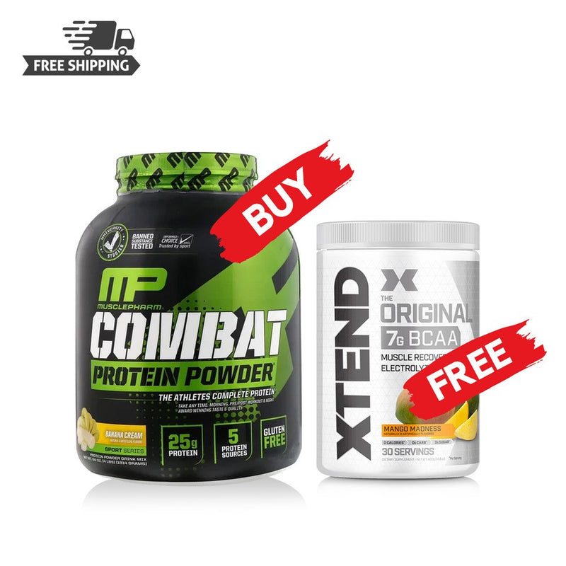 Buy MUSCLEPHARM COMBAT PROTEIN POWDER & Get SCIVATION XTEND BCAA 30 Svgs FREE