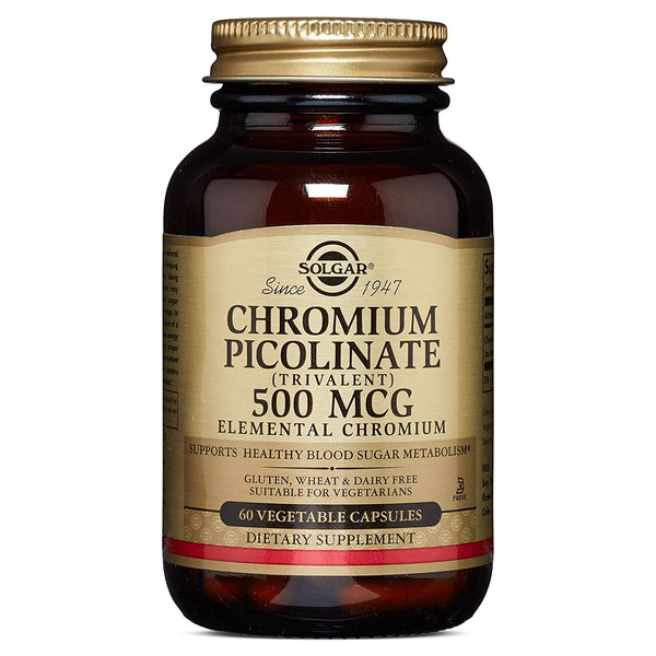 "Solgar €"" Chromium Picolinate 500 Mcg, 60 Vegetable Capsules"
