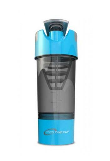 Cyclone Cup Protein Shaker Bottle  With Compartment - Aqua Smoked, 22 Oz