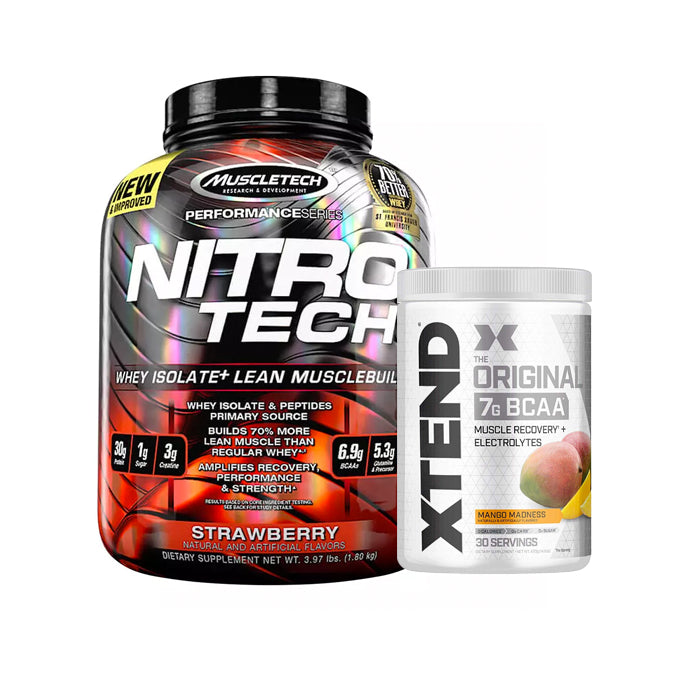 Nitrotech Performance Whey Isolate 4lb + Xtend Original 7g BCAA 30 Servings Combo Stack
